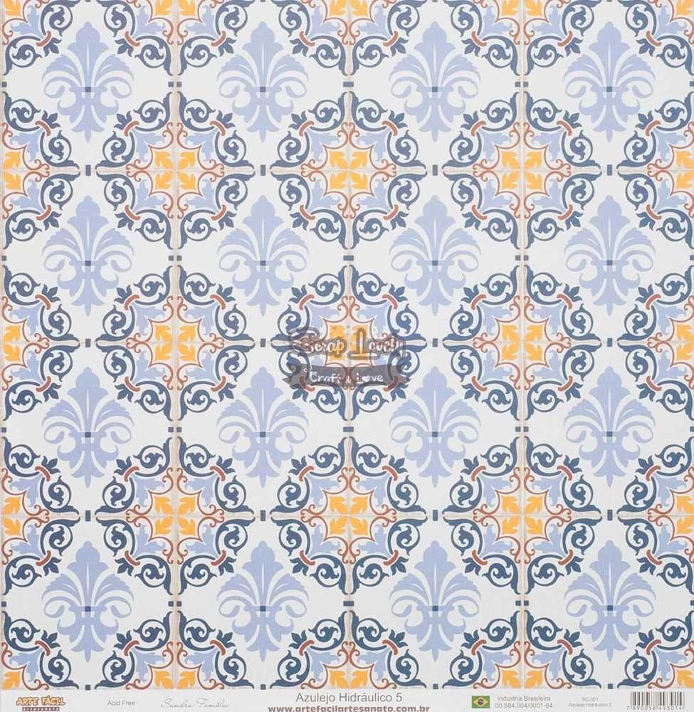 Papel Scrapbook Azulejo Hidráulico 5 - Arte Fácil