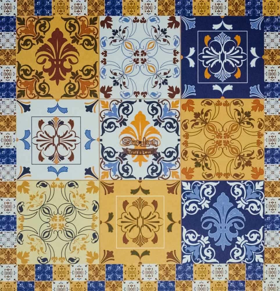 Papel Scrapbook Azulejo Hidráulico 6 - Arte Fácil