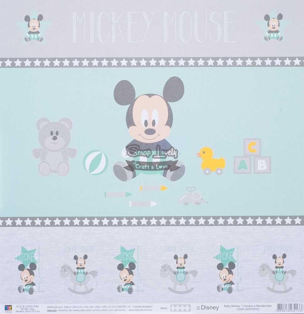 Papel Scrapbook Baby Mickey 1 Cenários e Bandeirolas - Toke e Crie