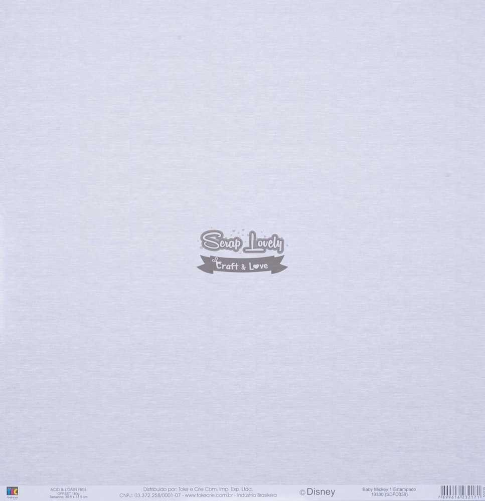 Papel Scrapbook Baby Mickey 1 Estampado - Toke e Crie