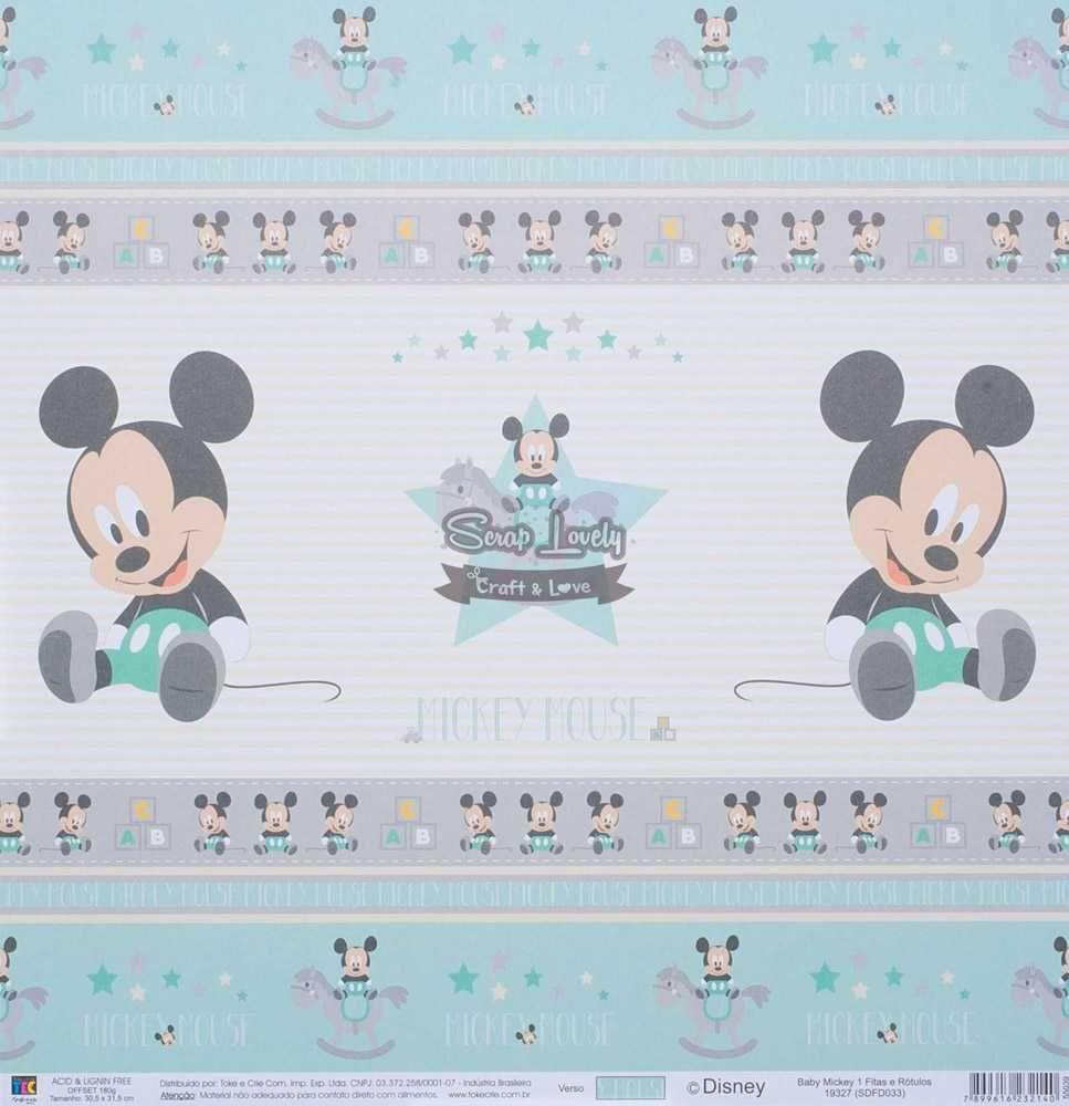 Papel Scrapbook Baby Mickey 1 Fitas e Rótulos - Toke e Crie