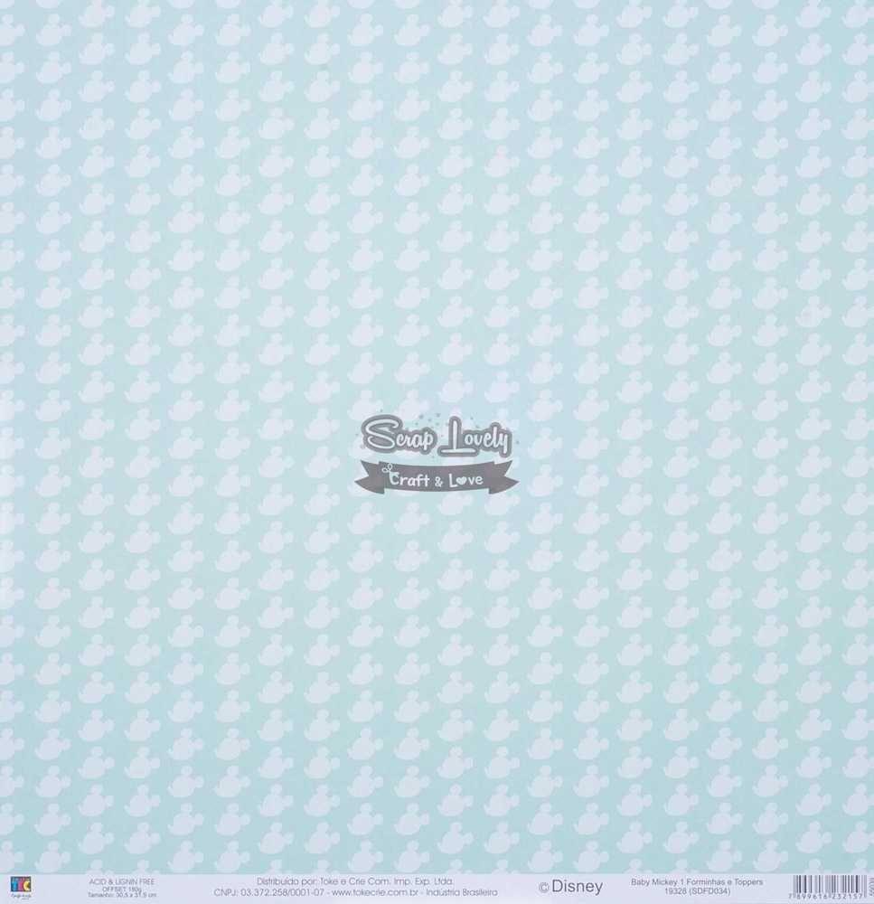 Papel Scrapbook Baby Mickey 1 Forminhas e Toppers - Toke e Crie