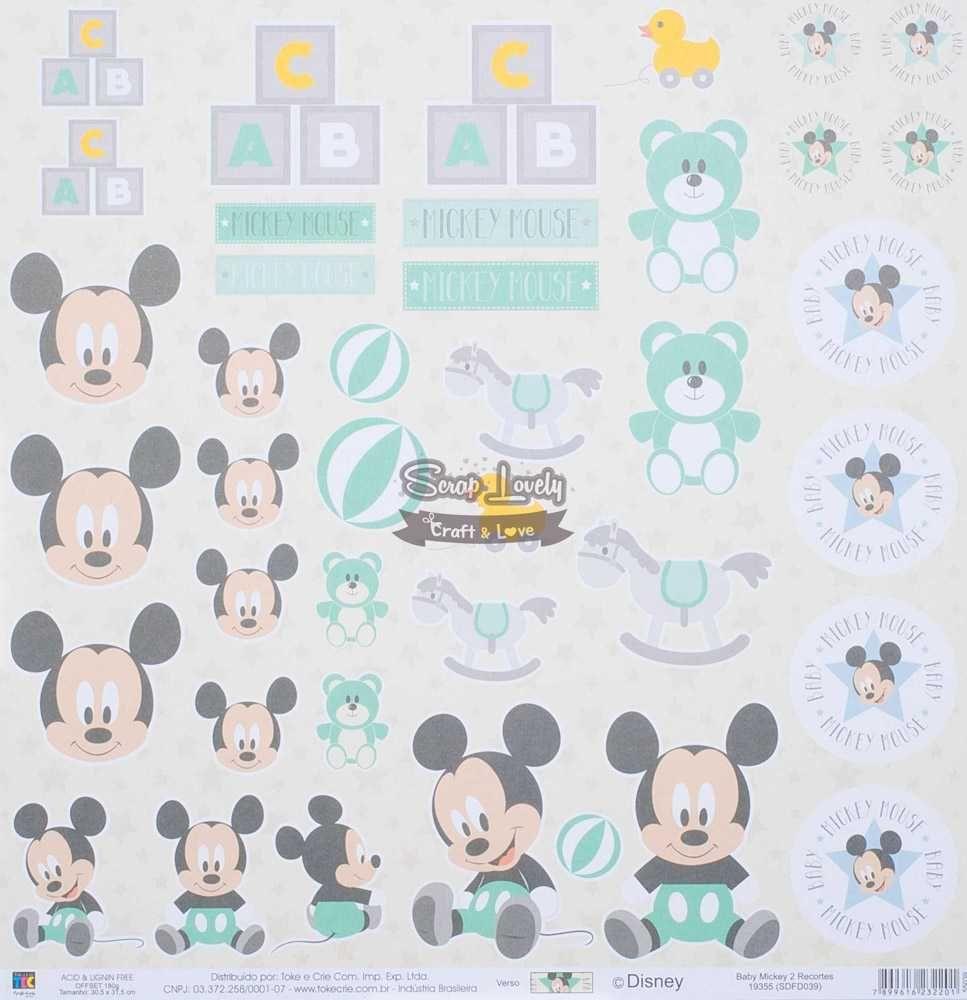 Papel Scrapbook Baby Mickey 2 Recortes - Toke e Crie