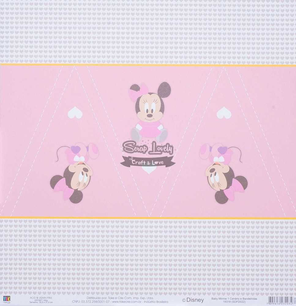 Papel Scrapbook Baby Minnie 1 Cenários e Bandeirolas - Toke e Crie