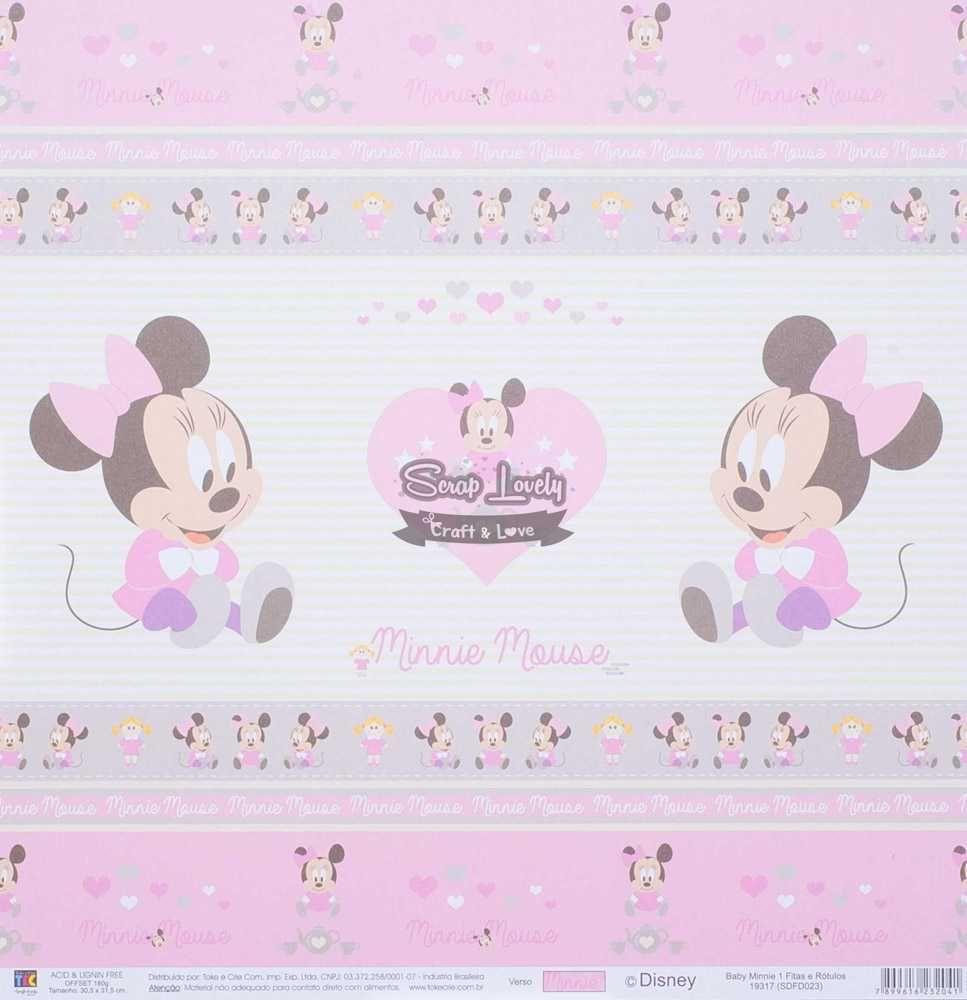 Papel Scrapbook Baby Minnie 1 Fitas e Rótulos - Toke e Crie