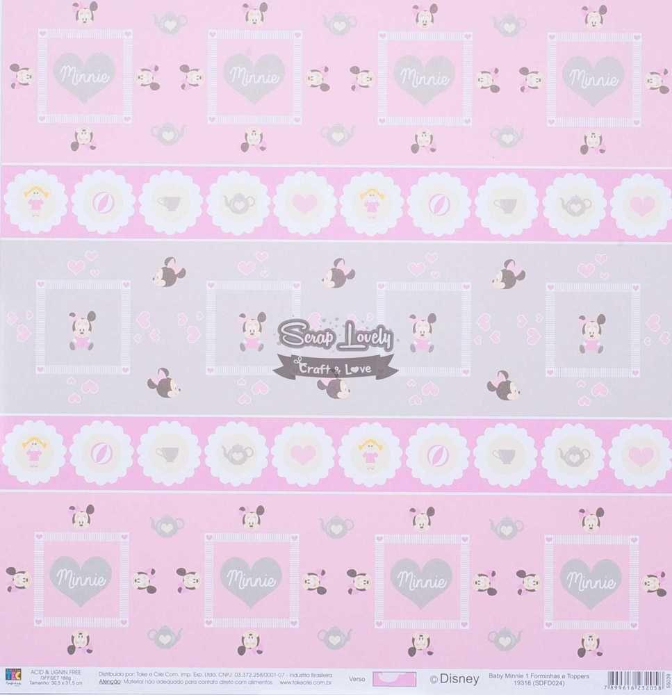 Papel Scrapbook Baby Minnie 1 Forminhas e Toppers - Toke e Crie