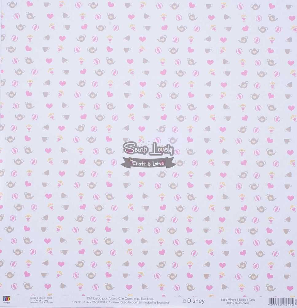 Papel Scrapbook Baby Minnie 1 Selos e Tags - Toke e Crie