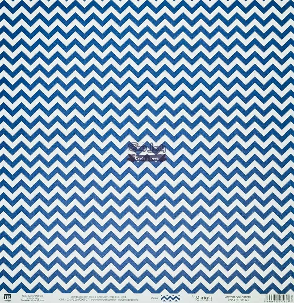 Papel Scrapbook Básica Chevron Azul Marinho - Toke e Crie