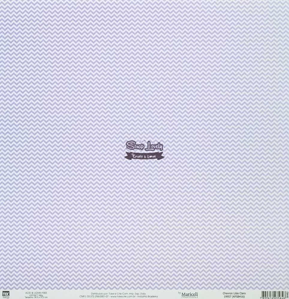 Papel Scrapbook Básica Chevron Lilás Claro - Toke e Crie