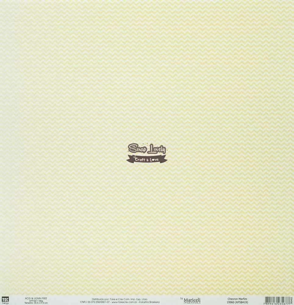 Papel Scrapbook Básica Chevron Marfim - Toke e Crie