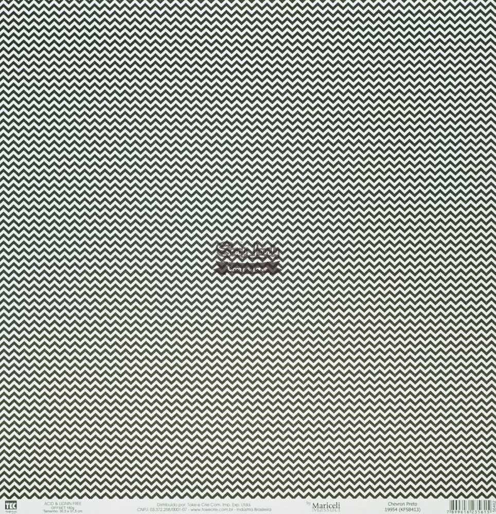Papel Scrapbook Básica Chevron Preto - Toke e Crie