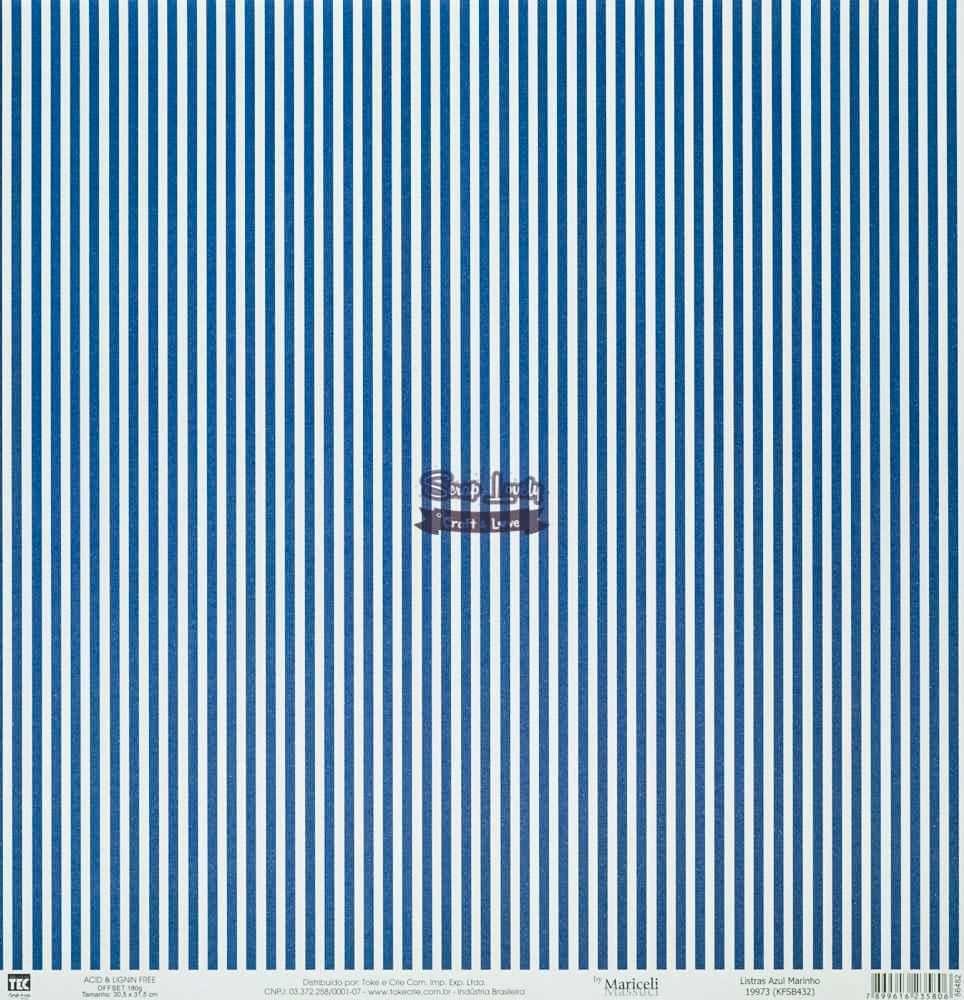 Papel Scrapbook Básica Listras Azul Marinho - Toke e Crie