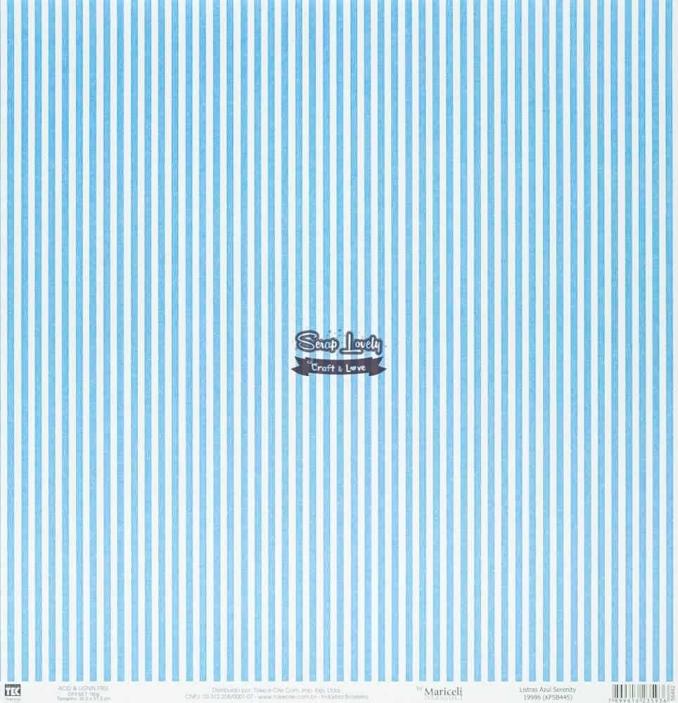 Papel Scrapbook Básica Listras Azul Serenity - Toke e Crie