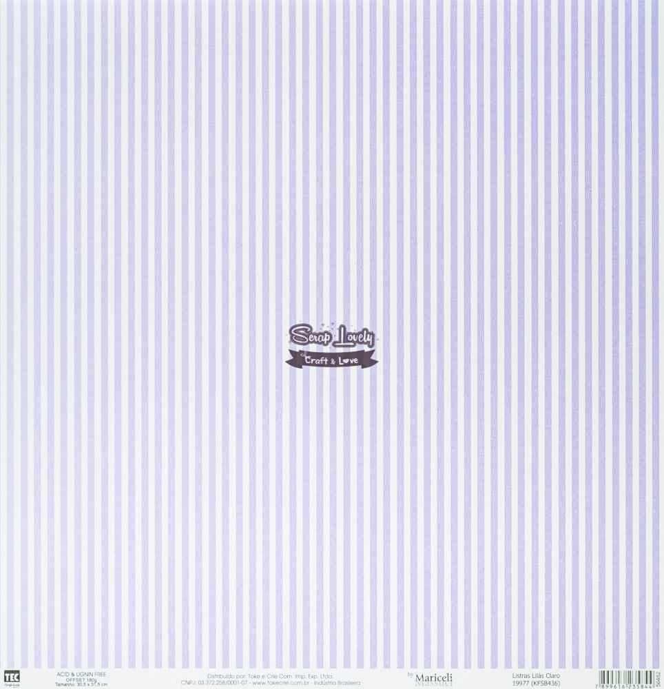 Papel Scrapbook Básica Listras Lilás Claro - Toke e Crie