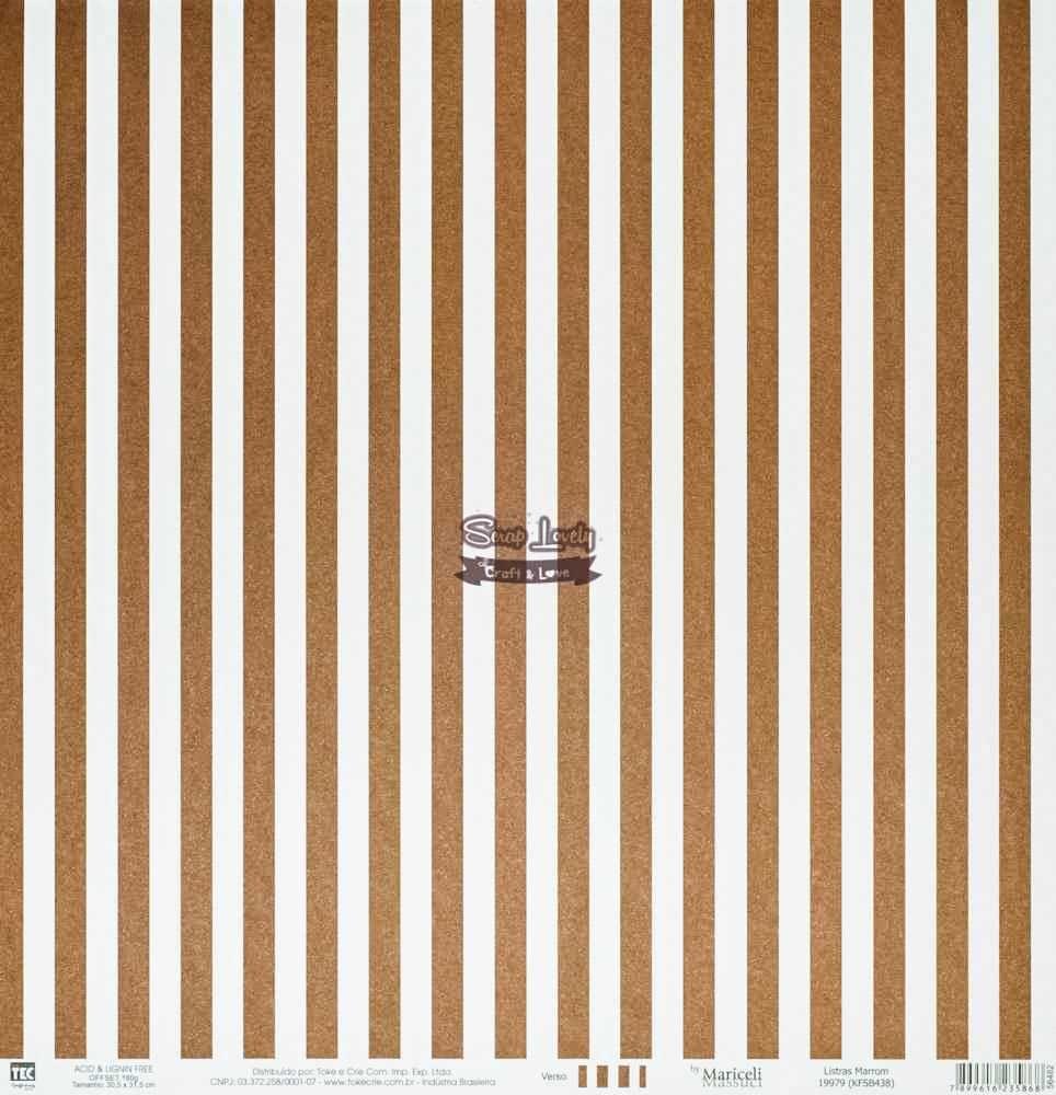 Papel Scrapbook Básica Listras Marrom - Toke e Crie