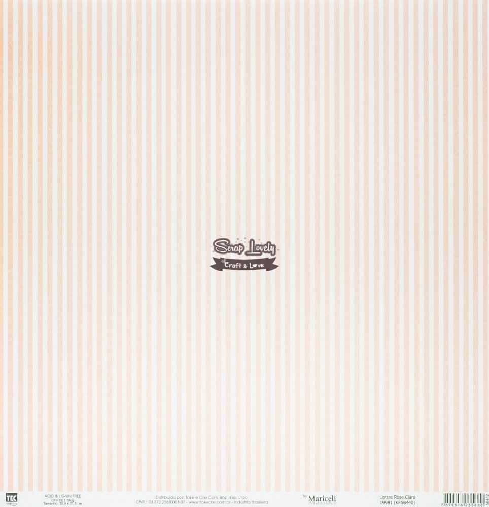 Papel Scrapbook Básica Listras Rosa Claro 19981 (KFSB440) - Toke e Crie