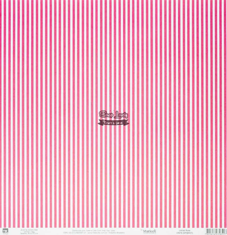 Papel Scrapbook Básica Listras Rosa - Toke e Crie