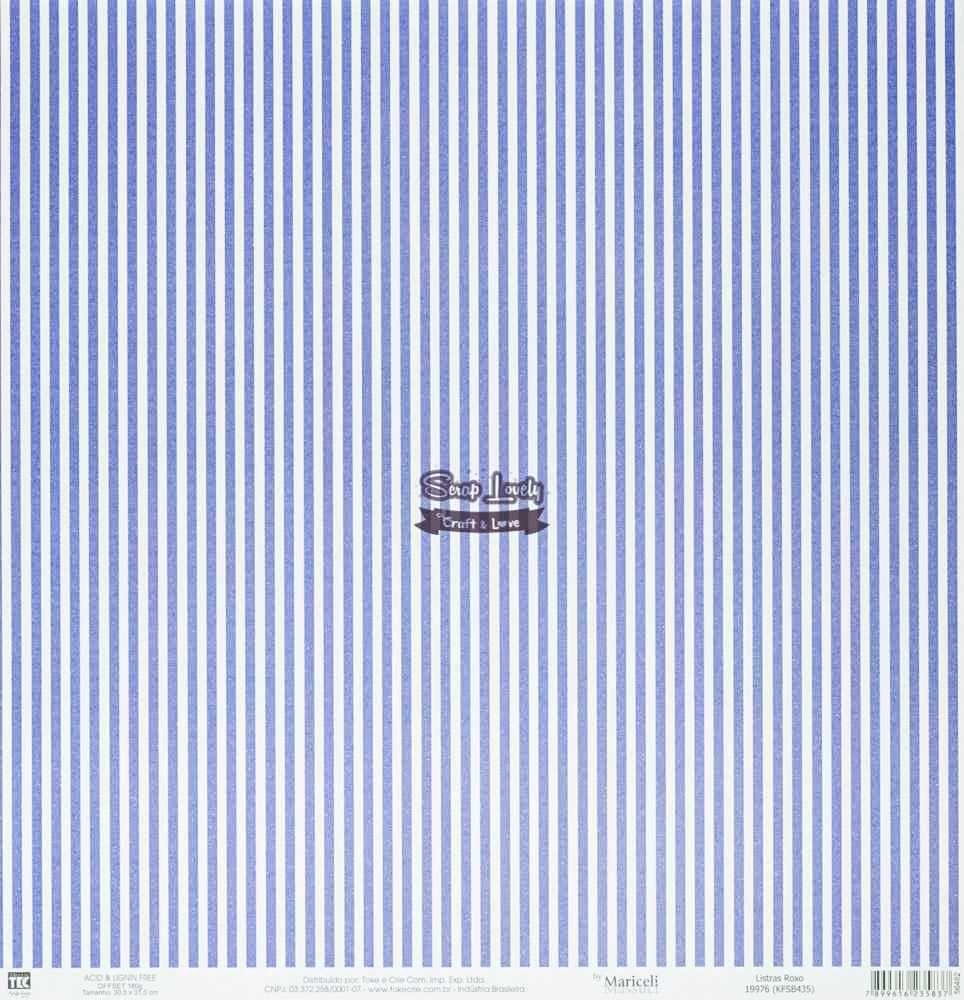 Papel Scrapbook Básica Listras Roxo - Toke e Crie