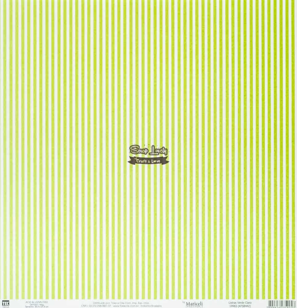 Papel Scrapbook Básica Listras Verde Claro - Toke e Crie