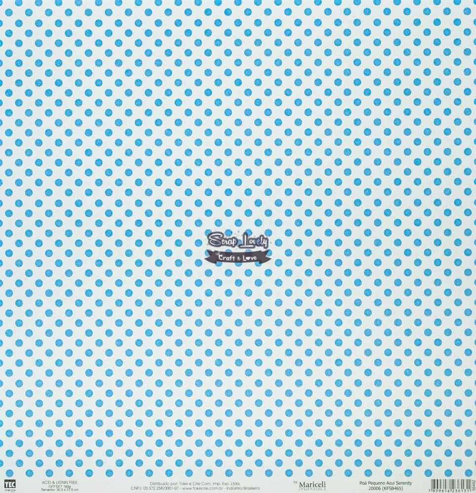 Papel Scrapbook Básica Poá Pequeno Azul Serenity - Toke e Crie