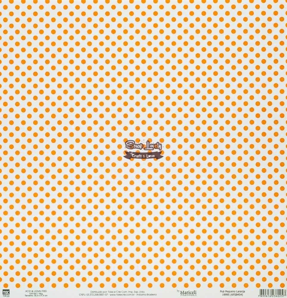 Papel Scrapbook Básica Poá Pequeno Laranja - Toke e Crie