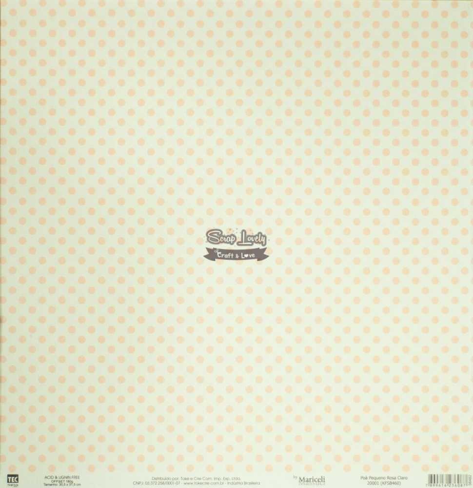 Papel Scrapbook Básica Poá Pequeno Rosa Claro 20001 (KFSB460) - Toke e Crie