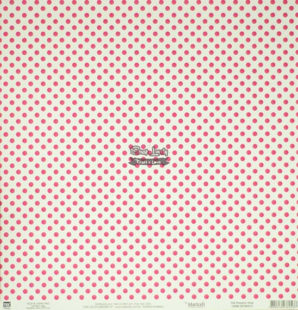 Papel Scrapbook Básica Poá Pequeno Rosa - Toke e Crie