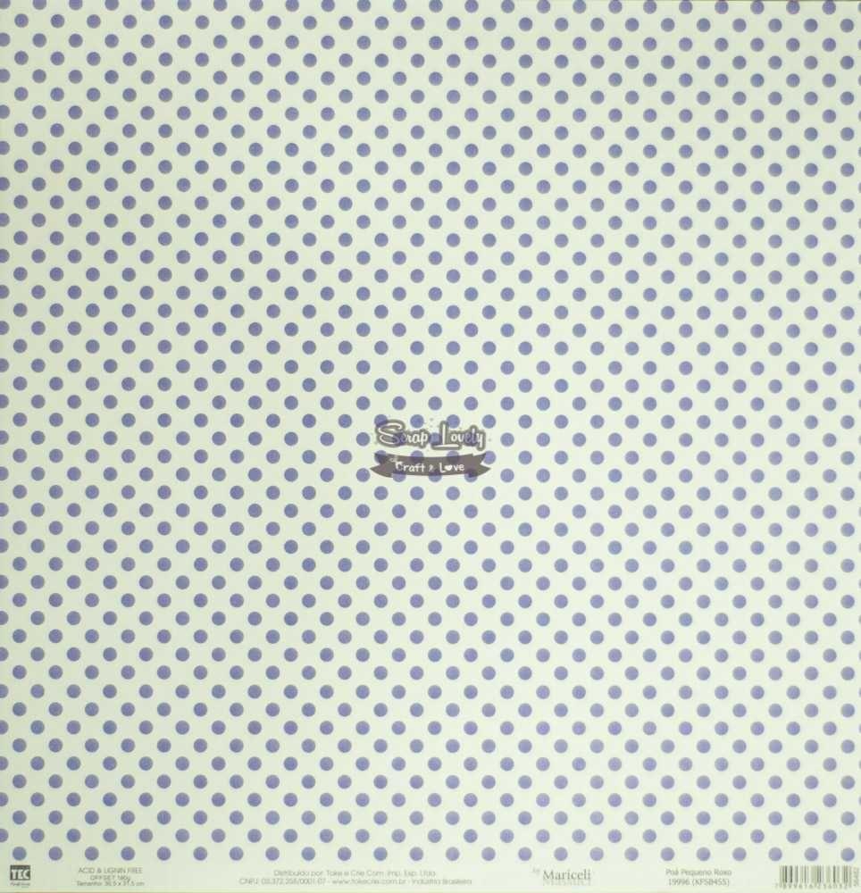 Papel Scrapbook Básica Poá Pequeno Roxo - Toke e Crie