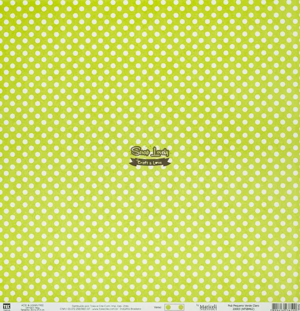 Papel Scrapbook Básica Poá Pequeno Verde Claro - Toke e Crie