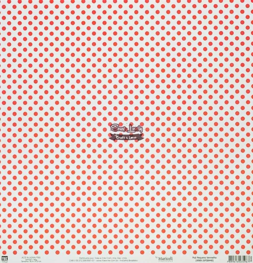 Papel Scrapbook Básica Poá Pequeno Vermelho - Toke e Crie