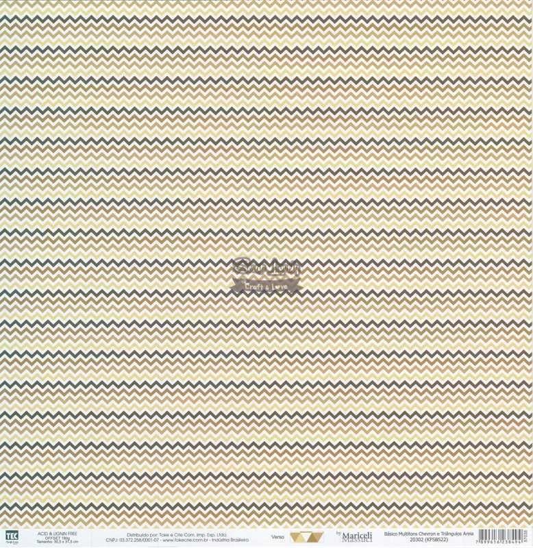 Papel Scrapbook Básico Multitons Chevron e Triângulos Areia - Toke e Crie