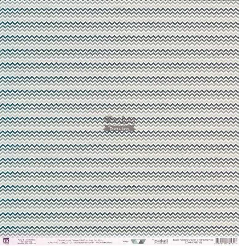 Papel Scrapbook Básico Multitons Chevron e Triângulos Preto - Toke e Crie