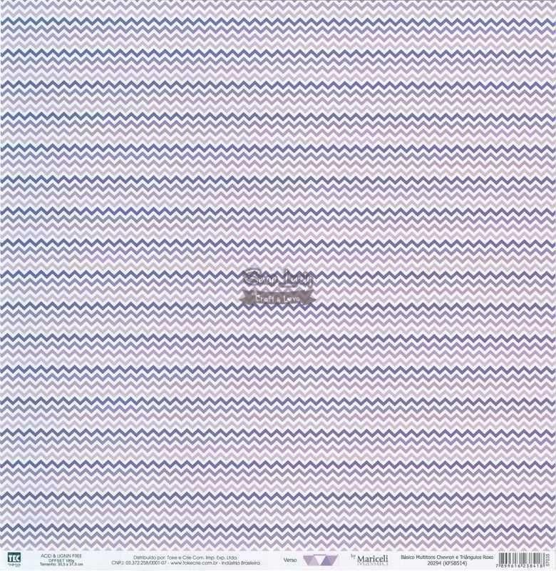 Papel Scrapbook Básico Multitons Chevron e Triângulos Roxo - Toke e Crie