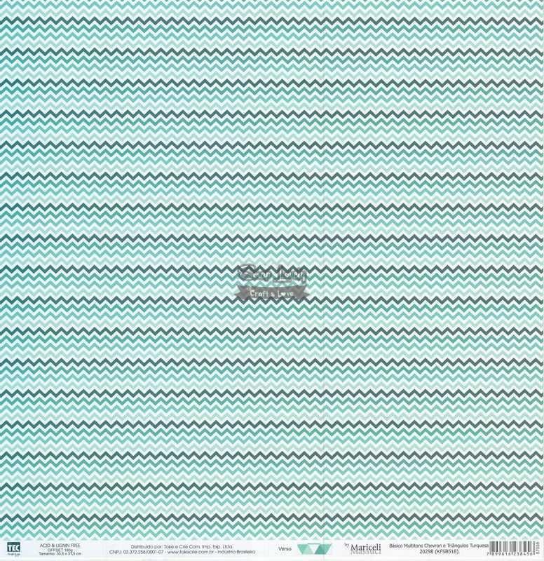 Papel Scrapbook Básico Multitons Chevron e Triângulos Turquesa - Toke e Crie