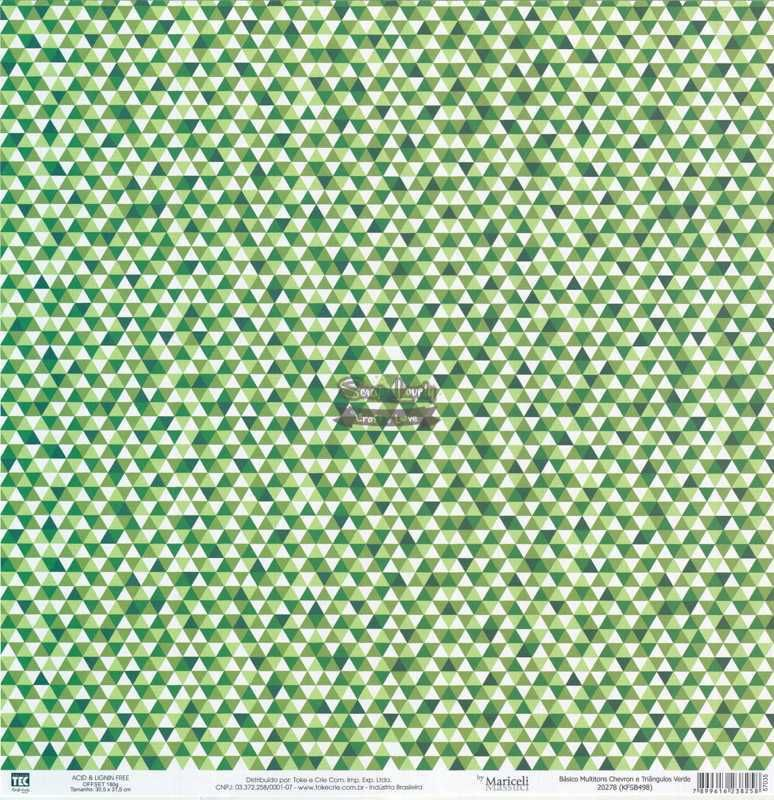 Papel Scrapbook Básico Multitons Chevron e Triângulos Verde - Toke e Crie