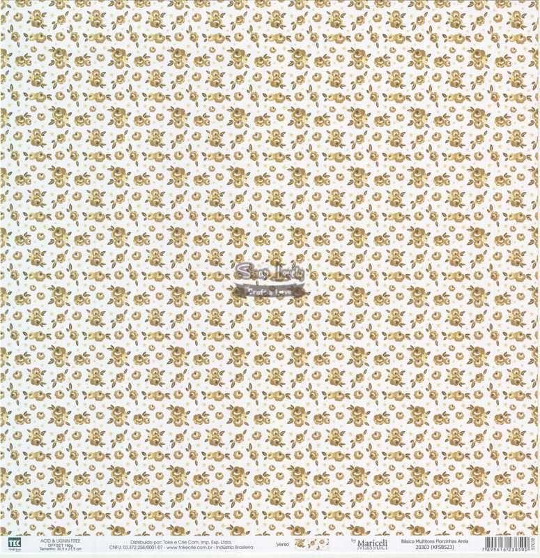 Papel Scrapbook Básico Multitons Florzinhas Areia - Toke e Crie