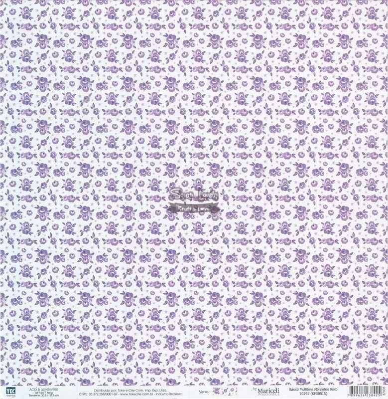 Papel Scrapbook Básico Multitons Florzinhas Roxo - Toke e Crie