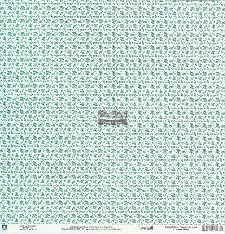Papel Scrapbook Básico Multitons Florzinhas Turquesa - Toke e Crie