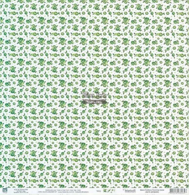 Papel Scrapbook Básico Multitons Florzinhas Verde - Toke e Crie
