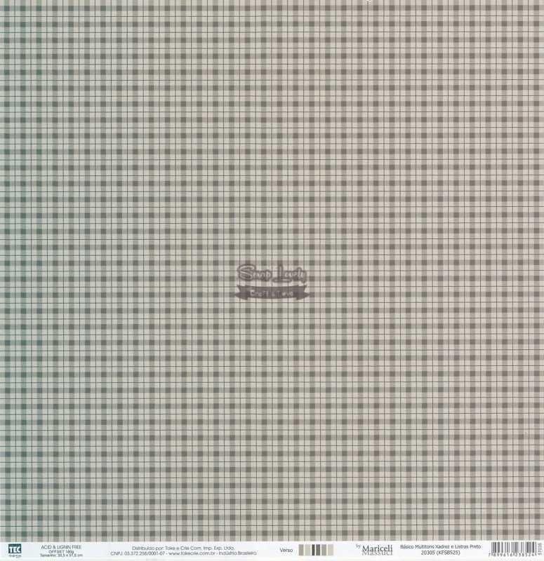 Papel Scrapbook Básico Multitons Xadrez e Listras Preto - Toke e Crie
