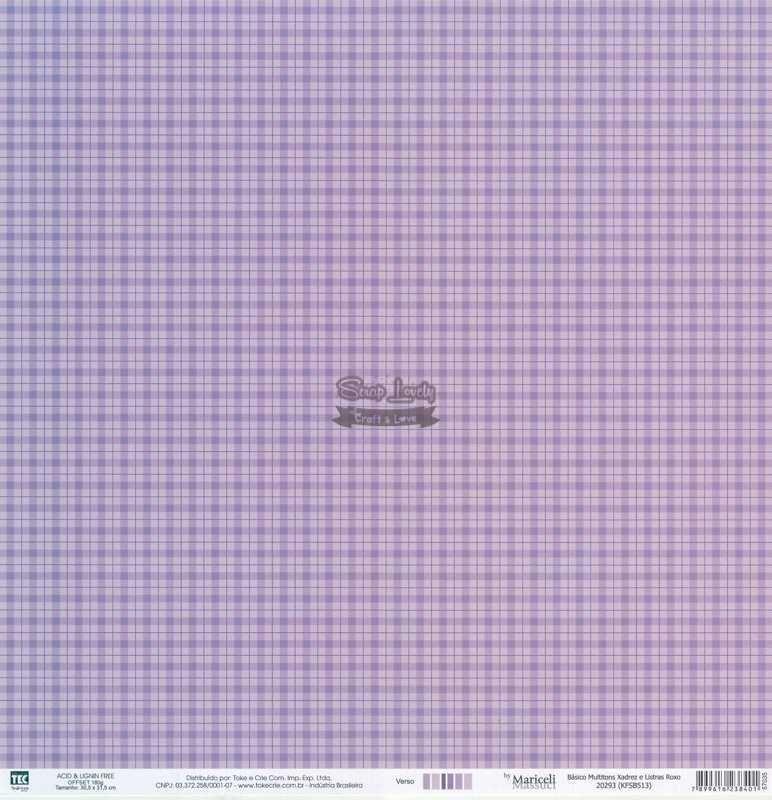 Papel Scrapbook Básico Multitons Xadrez e Listras Roxo - Toke e Crie