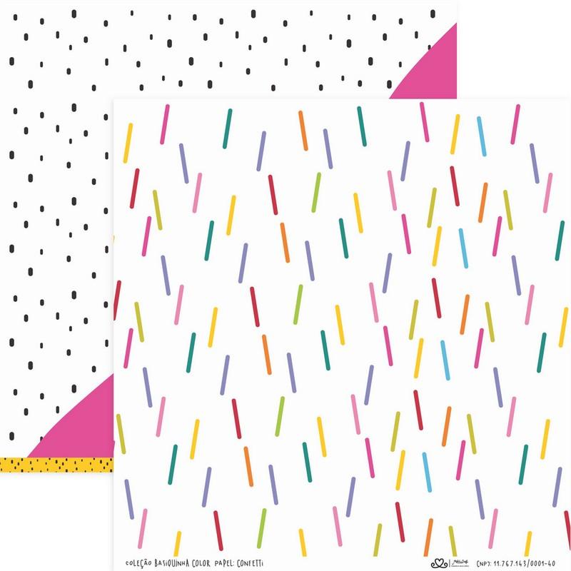 Papel Scrapbook Basiquinha Linha Colors Confetti - Atelie Craft