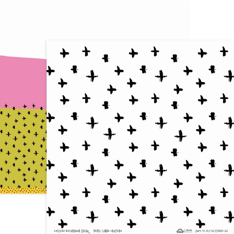 Papel Scrapbook Basiquinha Linha Colors Linha Cruzada - Atelie Craft