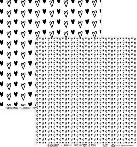 Papel Scrapbook Basiquinha Linha PB Coração de Papel - Atelie Craft