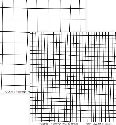 Papel Scrapbook Basiquinha Linha PB Grid Riscado - Atelie Craft