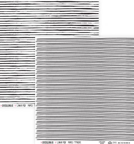 Papel Scrapbook Basiquinha Linha PB Traços - Atelie Craft