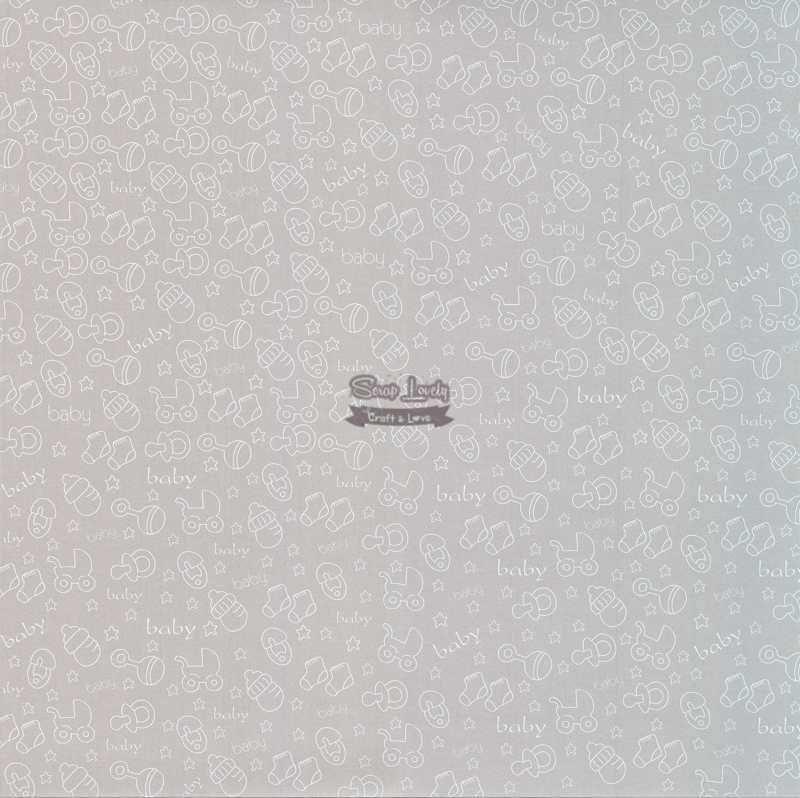 Papel Scrapbook Bebê 05 Prata - Metallik