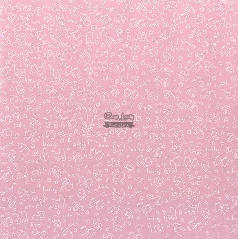 Papel Scrapbook Bebê 05 Rosa - Metallik