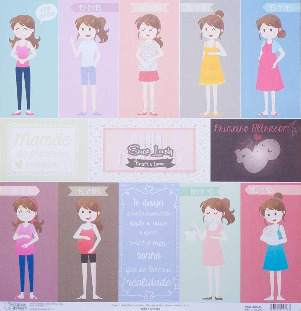 Papel Scrapbook Bebê a Caminho - Oficina do Papel