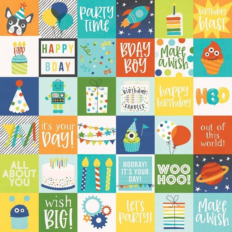 Papel Scrapbook Birthday Plast 2x2 Elements - Simple Stories